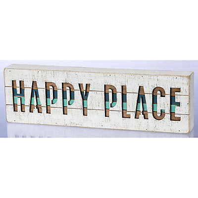 Primitives by Kathy Happy Place 15-Inch x 4-Inch Wood Wall Art