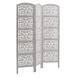 Carved Floral Screen in White
