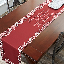 Personalized Our Christmas Blessings 96-InchTable Runner in Red