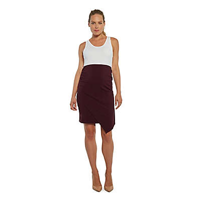Stowaway Collection 9 to 9 Maternity Dress in White/Burgundy