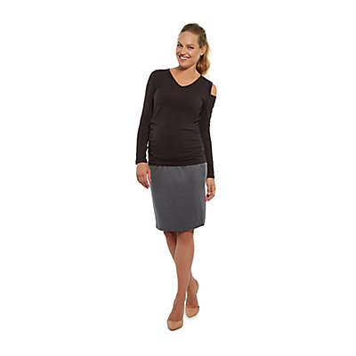 Stowaway Collection Cold Shoulder Maternity Top in Black