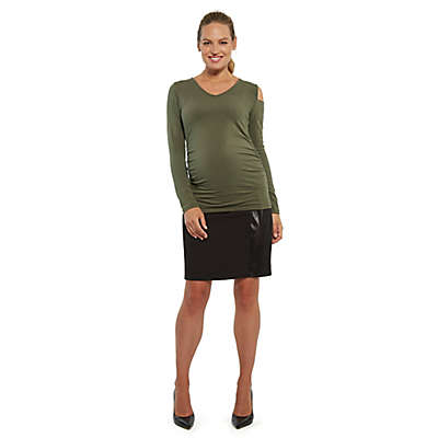 Stowaway Collection Cold Shoulder Maternity Top in Army