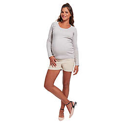 Stowaway Collection Raglan Snap Maternity & Nursing Sweater in Light Grey