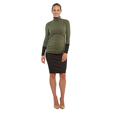 Stowaway Collection Cuffed Maternity Turtleneck in Army