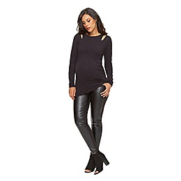 Stowaway Collection Double Keyhole Maternity Top in Black