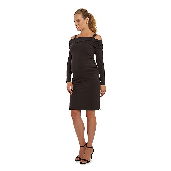 d39bb4465568b Stowaway Collection Off-The-Shoulder Maternity Dress in Black ...