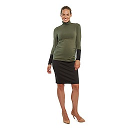Stowaway Collection Straight Maternity Skirt in Black