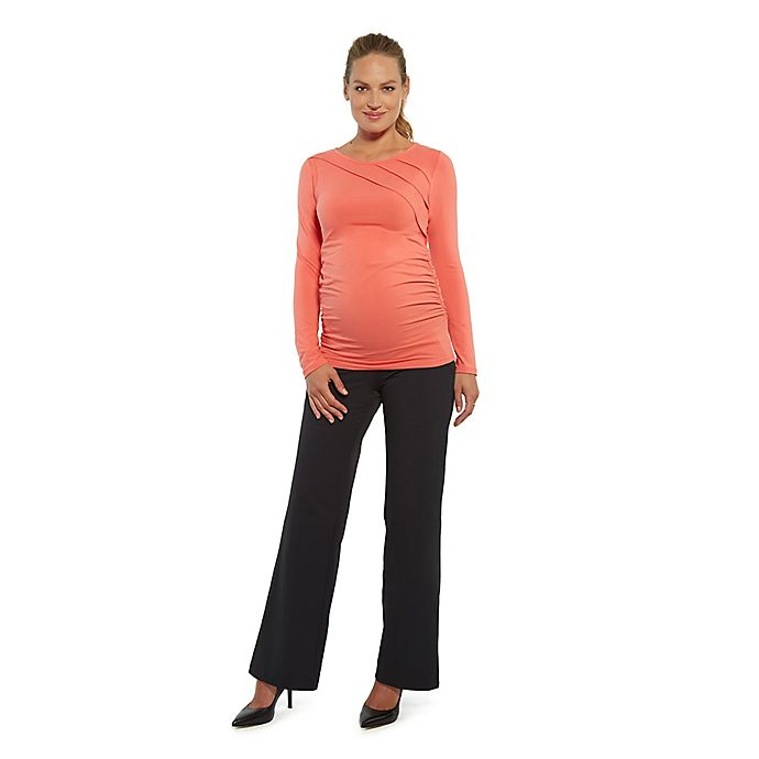 Alternate image 1 for Stowaway Collection Sunburst Maternity Top in Coral
