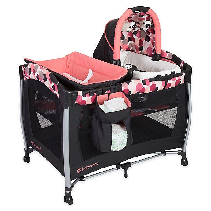 Alternate image 1 for Baby Trend® Dotty Resort Elite Nursery Center Playard in Pink/Black