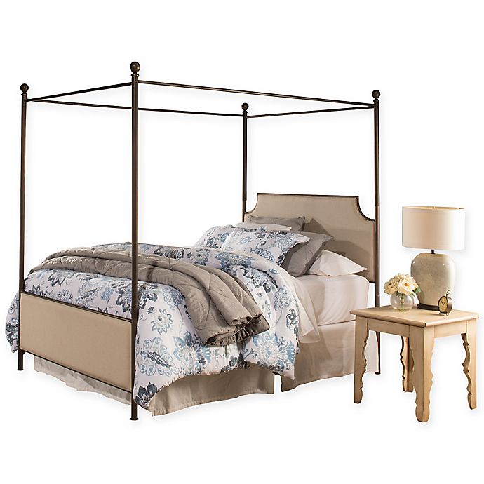 Alternate image 1 for Hillsdale Furniture McArthur King Metal Canopy Bed in Linen Stone with Bronze Finish