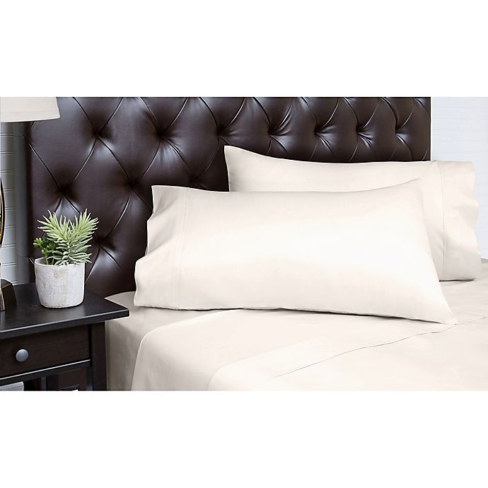Alternate image 1 for Spectrum Home Textiles 350-Thread-Count Organic Cotton Queen Sheet Set in Ivory