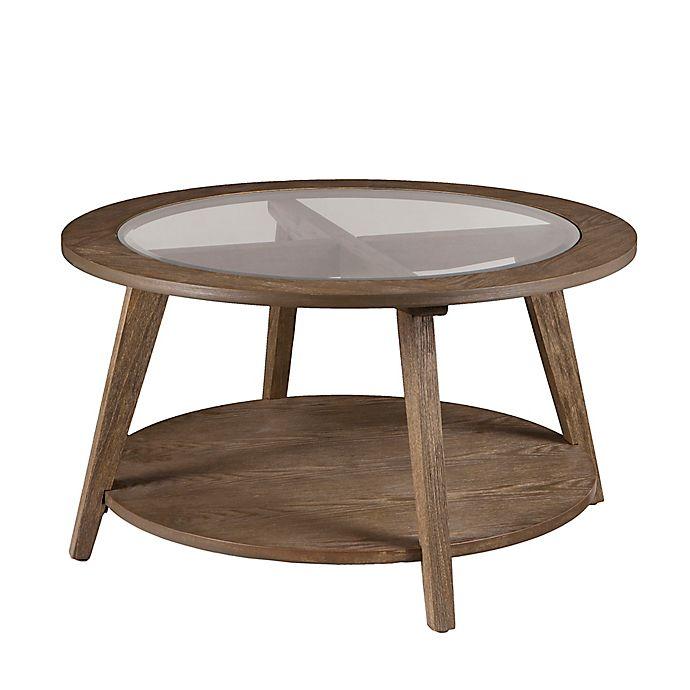 Alternate image 1 for Southern Enterprises Chandler Glass Top Cocktail Table in Oak