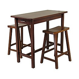 Windsome Trading Sally 3-Piece Breakfast Table Set with Saddle Stools in Walnut