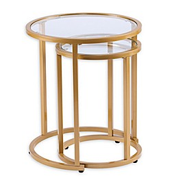 Southern Enterprises Evelyn 2-Piece Side Table in Gold
