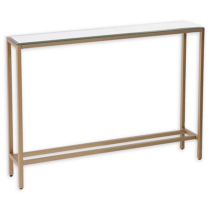 Southern Enterprises Darrin 36 Inch Console Table With Mirror Top In Gold Bed Bath Beyond