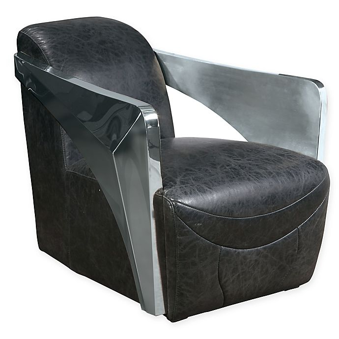 Alternate image 1 for Pulaski Metal Arm Chair in Distressed Black Leather