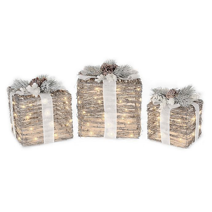Alternate image 1 for 8/10/12-Inch Micro LED Lighted Gift Box in Brown (Set of 3)