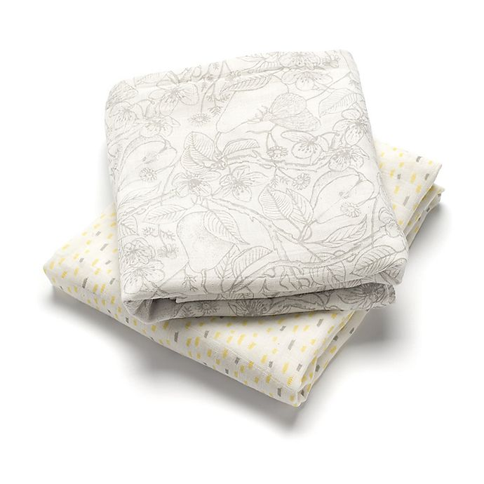 Alternate image 1 for Storksak® 2-Pack Muslin Swaddle Blankets in White/Yellow