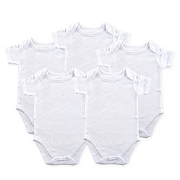 Luvable Friends® 5-Pack Short Sleeve Bodysuits in White