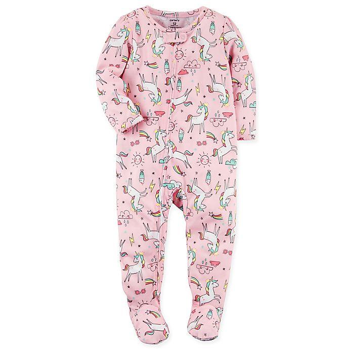 Alternate image 1 for carter's® Zip-Front Unicorn Footie in Pink