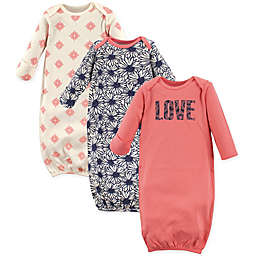 Touched by Nature Size 0-6M Love 3-Pack Organic Cotton Gowns in Coral/Navy