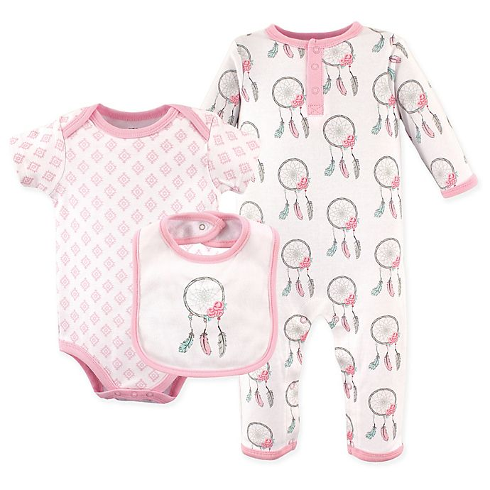 b1bfb95fb35f7 Hudson Baby® Size 9-12M 3-Piece Dreamcatcher Coverall, Bodysuit, and Bib  Set in Pink