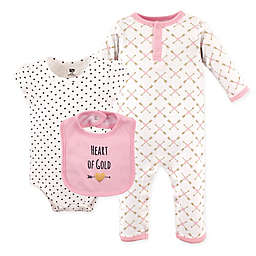 Hudson Baby® 3-Piece Heart Coverall, Bodysuit, and Bib Set in Pink