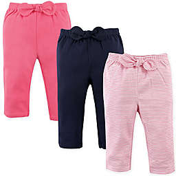 Hudson Baby® 3-Pack Waist-Bow Stripe Pants in Pink