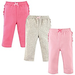Hudson Baby® 3-Pack Ruffle and Bow Pants in Pink/Grey