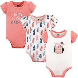 Hudson Baby®  3-Pack Follow Your Dreams Short Sleeve Bodysuits in Pink