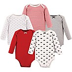 Hudson Baby® Size 0-3M 5-Pack Baby Bows Long Sleeve Bodysuits in Red