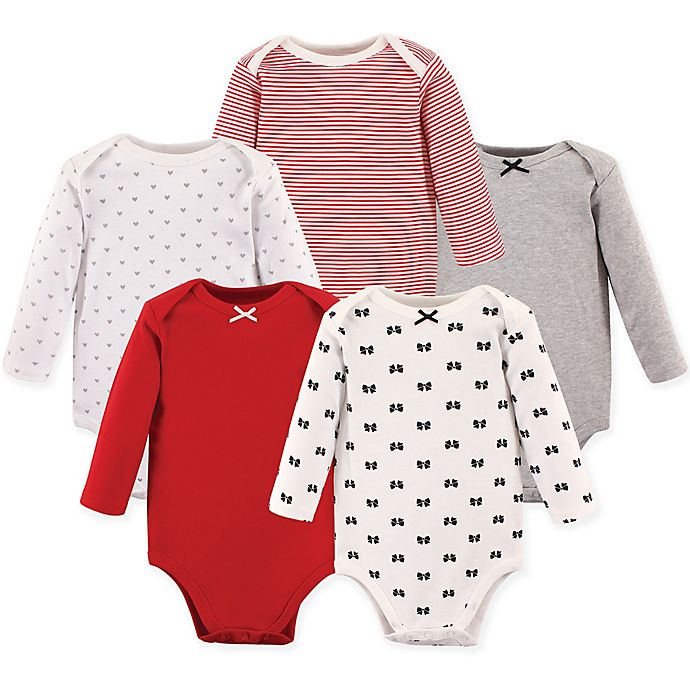Alternate image 1 for Hudson Baby® 5-Pack Baby Bows Long Sleeve Bodysuits in Red