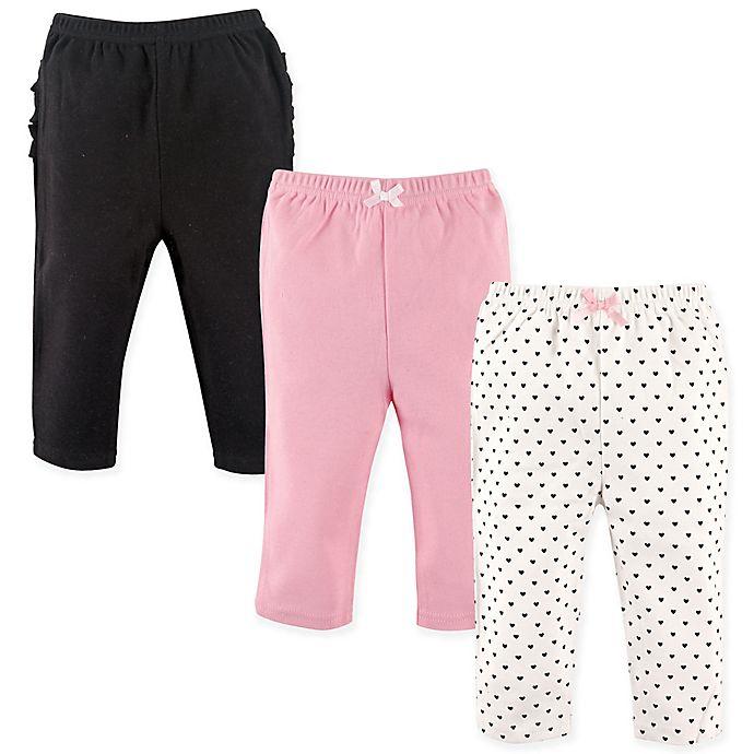 Alternate image 1 for Hudson Baby® 3-Pack Polka Dot Ruffle Pants in Pink/Black