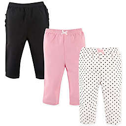 Hudson Baby® Size 6-9M 3-Pack Polka Dot Ruffle Pants in Pink/Black