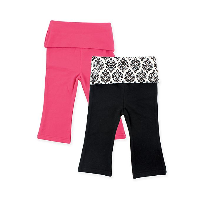 Alternate image 1 for Yoga Sprout 2-Pack Damask Print Yoga Pants in Pink/Black