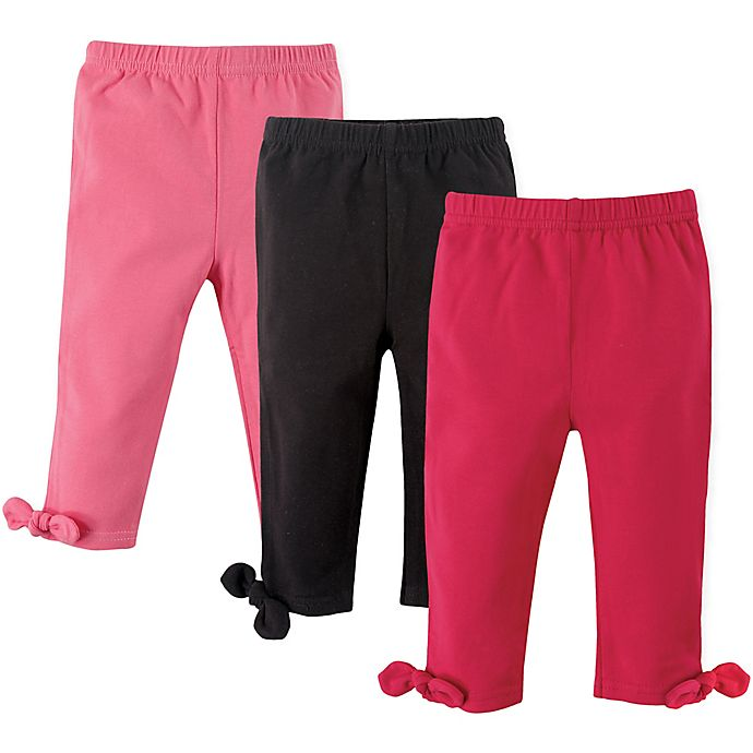 Alternate image 1 for Hudson Baby® Size 0-3M 3-Pack Knot-Bow Leggings in Pink/Black
