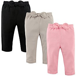 Hudson Baby® 3-Pack Waist-Bow Pants in Pink/Black
