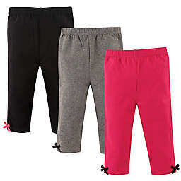 Hudson Baby® 3-Pack Satin Bow-Trimmed Leggings in Pink/Grey