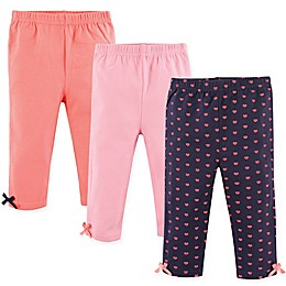 Hudson Baby® 3-Pack Bow-Trimmed Leggings in Coral/Blue