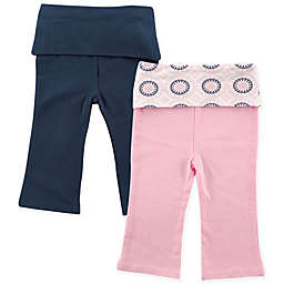 Yoga Sprout Size 3-6M 2-Pack Ornamental Print Yoga Pants in Pink/Blue