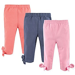 Hudson Baby® 3-Pack Knot-Bow Leggings in Pink/Navy