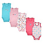 Luvable Friends® Size 0-3M 5-Pack Sleeveless Ocean Bodysuits in Pink