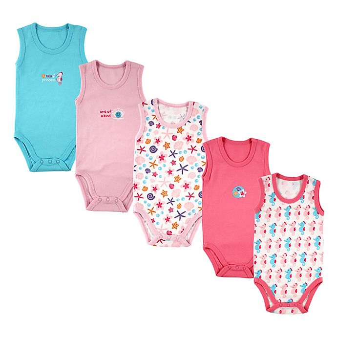 Alternate image 1 for Luvable Friends® 5-Pack Sleeveless Ocean Bodysuits in Pink