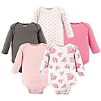 Hudson Baby® Size 6-9M 5-Pack Floral Long Sleeve Bodysuits in Pink