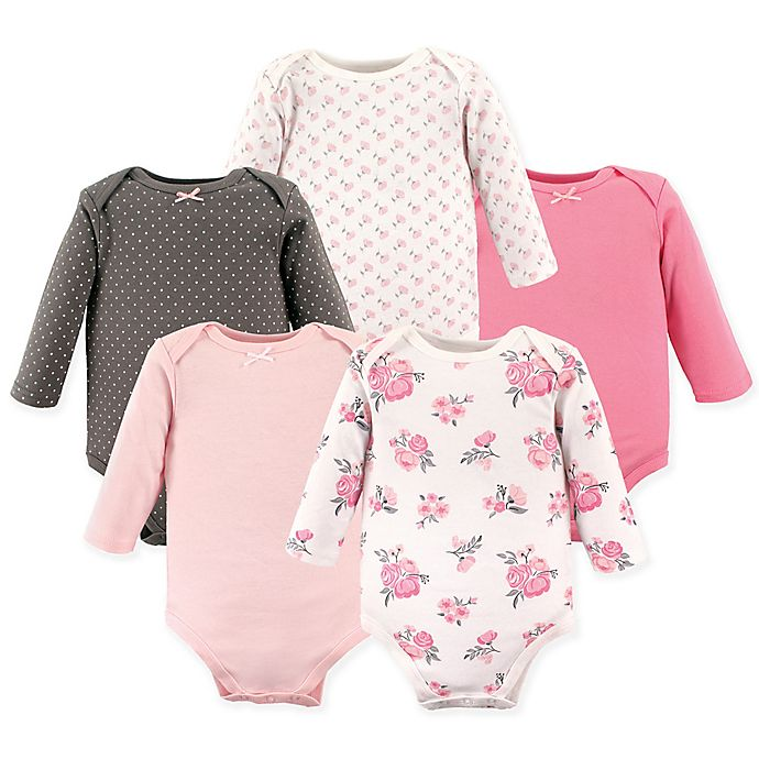 Alternate image 1 for Hudson Baby® 5-Pack Floral Long Sleeve Bodysuits in Pink
