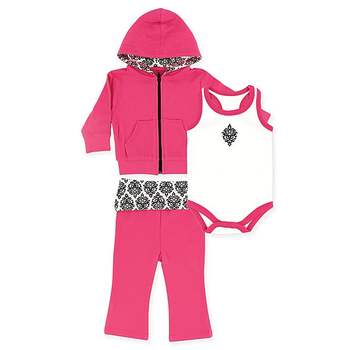 Alternate image 1 for Yoga Sprout 3-Piece Damask Jacket, Bodysuit, and Pant Set in Pink/Black