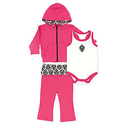 Yoga Sprout 3-Piece Damask Jacket, Bodysuit, and Pant Set in Pink/Black
