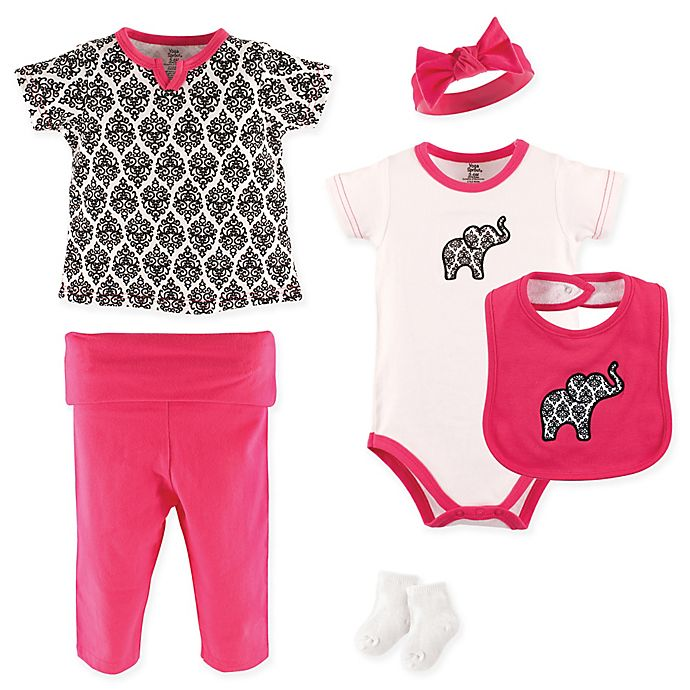 Alternate image 1 for Yoga Sprout 6-Piece Damask Layette Set in Pink