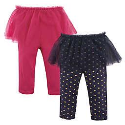 Hudson Baby® 2-Pack Tutu Leggings in Pink/Navy