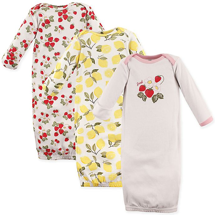 Alternate image 1 for Hudson Baby® 3-Pack Strawberry and Lemon Gowns